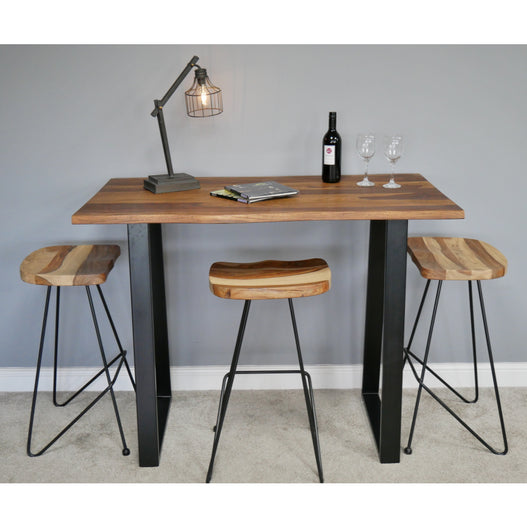 Hoxton Living Edge Sheesham Wood Small Breakfast Bar and 4 Stools (130 x 72 x 101cm)