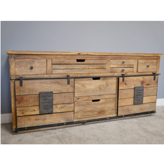 Hoxton Metal and Wood Industrial Jupiter Large Sideboard (179 x 40 x 82cm) - LOW STOCK!