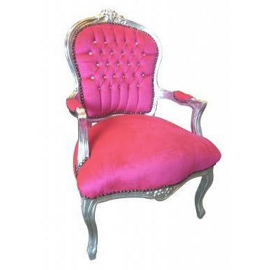 Hot pink velvet silver frame french arm chairs x 4