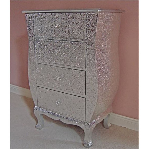 Silver embossed metal bedside 4 drawer chest table