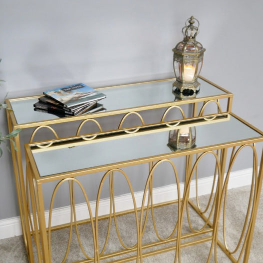 Gold Metal retro Set of 2 Mirrored Console Tables