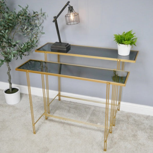 Gold Metal Smoked Glass Set of 2 Console Tables