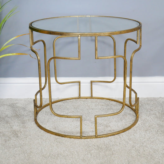 Gold Metal retro Round Glass Top Side Table