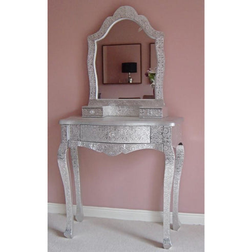 Silver embossed metal dressing table and mirror set