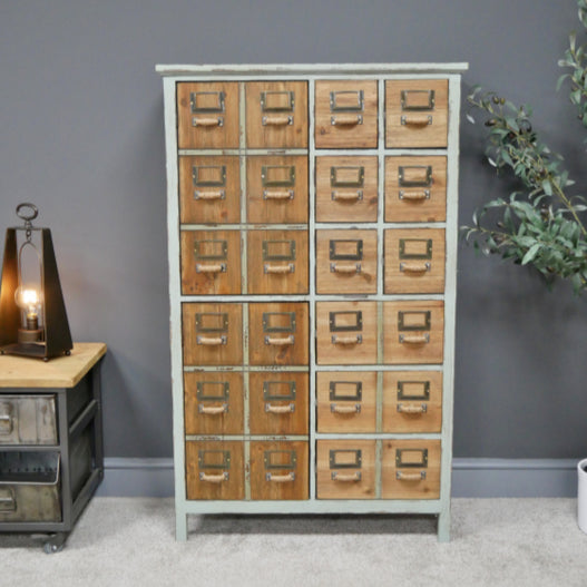 Brixton Metal and Wood Industrial Pale Green Storage Cabinet (73 x 32 x 120cm)