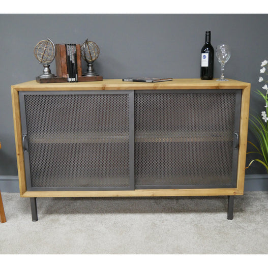 Hoxton Metal and Wood Industrial Style Sideboard (120 x 41 x 75cm)