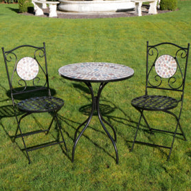 Black Metal and Glass Mosaic Effect Bistro Table and Two Chairs Set