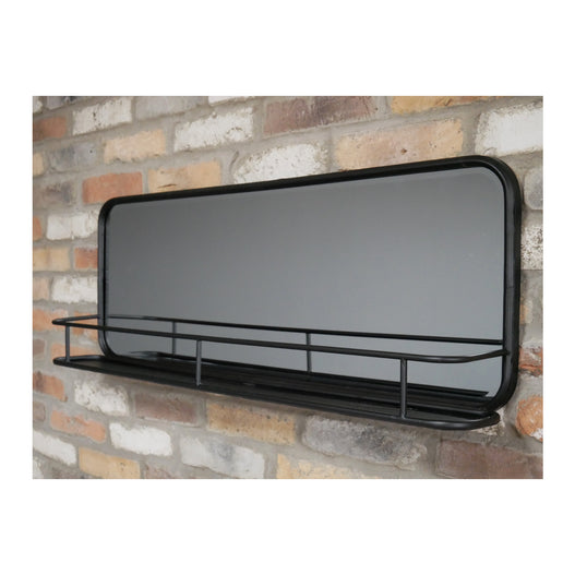 Brixton Metal Wide Wall Mirror with Shelf (100 x 14 x 35cm)