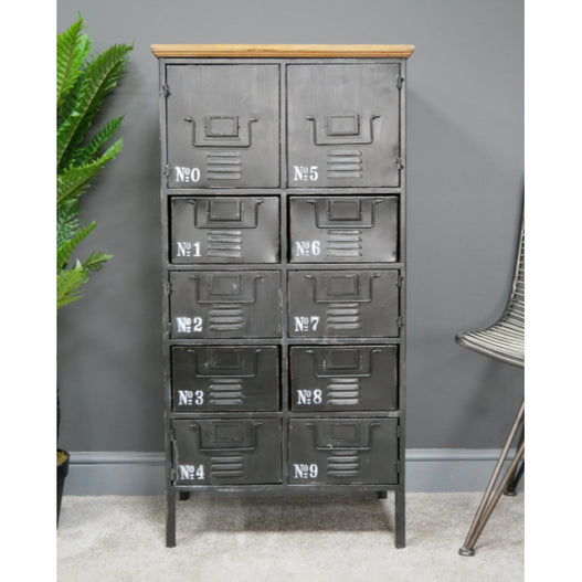 Hoxton Metal and Wood Multi Drawer Tall Chest of Drawers (56 x 34 x 111cm)
