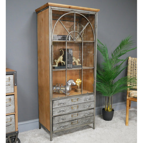 Hoxton Metal and Wood Industrial Low Display Unit (59 x 36 x 133cm)