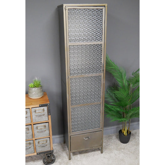 Hoxton Metal Industrial Retro Pattern Glass Display Cabinet (40 x 35 x 162cm)