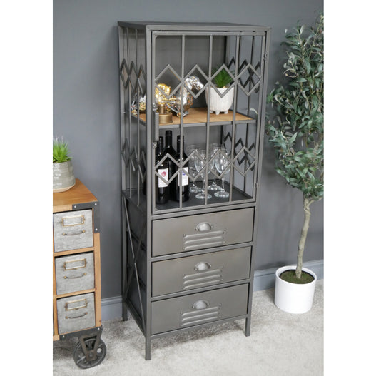 Brixton Metal and Wood Industrial Display Cabinet (50 x 38 x 137cm)