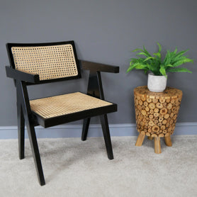 Hoxton Industrial Black Teak and Rattan Dining Chair - Set of 2
