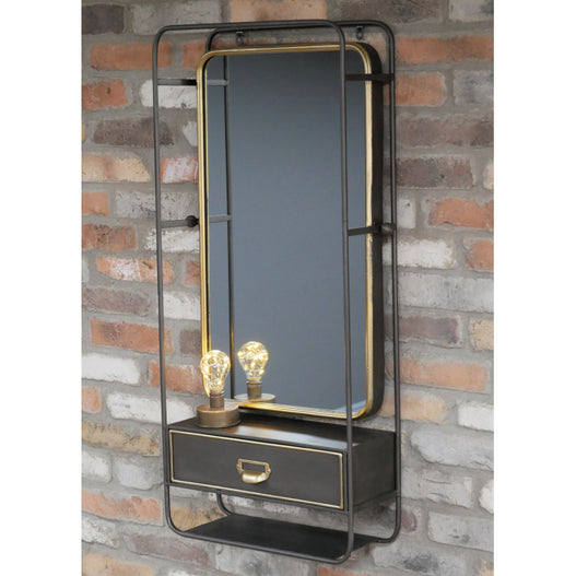 Brixton Metal Wall Mirror with Drawer (45 x 18 x 100cm)