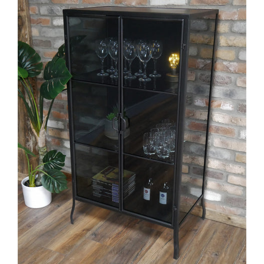 Brixton Metal Industrial Smoked Glass Display Cabinet (71 x 36 x 132cm)