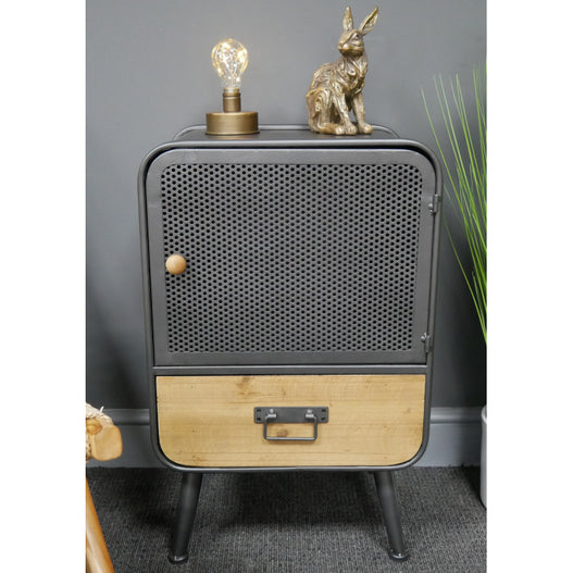 Retro Industrial 50's Style Metal/Wood Bedside Cabinet (42 x 33 x 67cm)