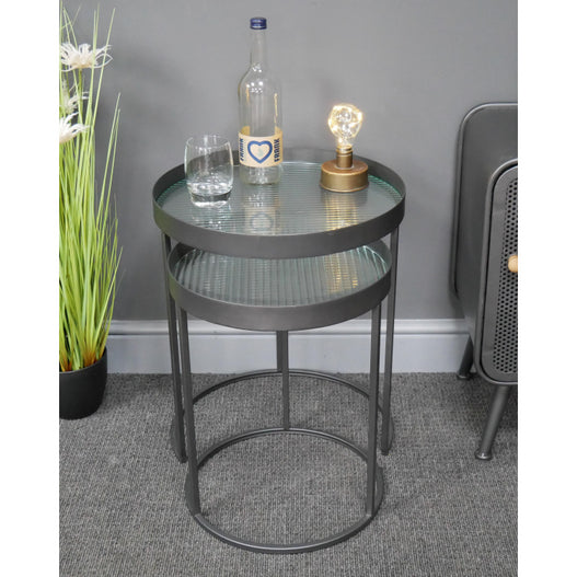 Hoxton Metal Industrial Retro Reeded Glass Nest of 2 Tables