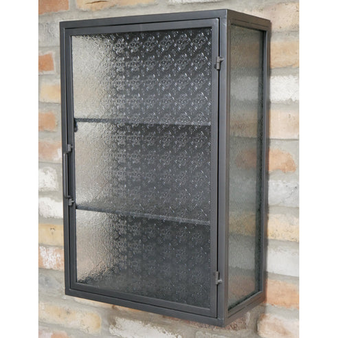 Hoxton Metal Industrial Retro Pattern Glass Wall Cupboard (40 x 24 x 60cm)