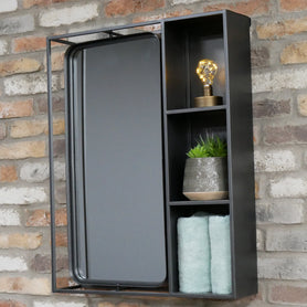 Retro Industrial Metal Wall Mirror Unit with Shelf (63 x 16 x 80cm)