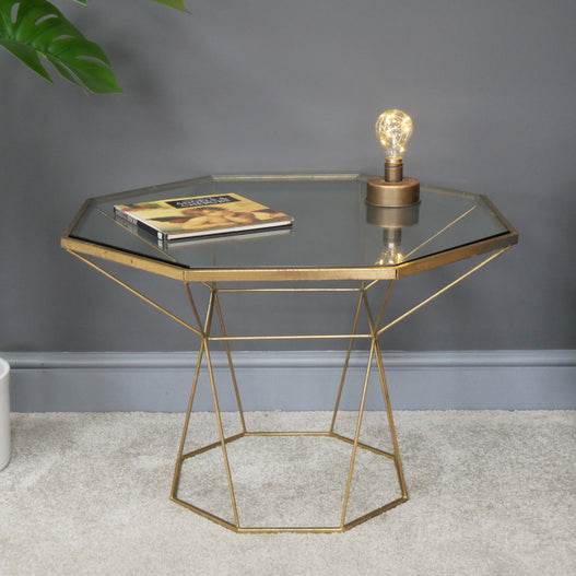 Antique Gold Art Deco Metal and Glass Side Table ( 66 x 66cm )