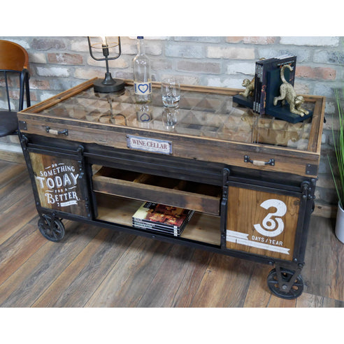 Hoxton Industrial Metal and Wood Wheeled Collectors Coffee Table