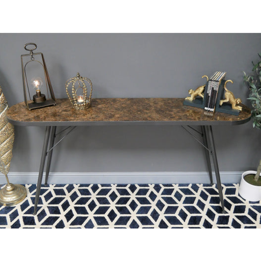Retro Industrial 50's Style Marble Console Table (160 x 38 x 78cm)