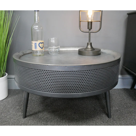 Hoxton Metal Industrial Retro Metal Round Storage Coffee Table
