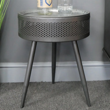 Hoxton Metal Industrial Retro Metal Round Storage Side Table - set of 2