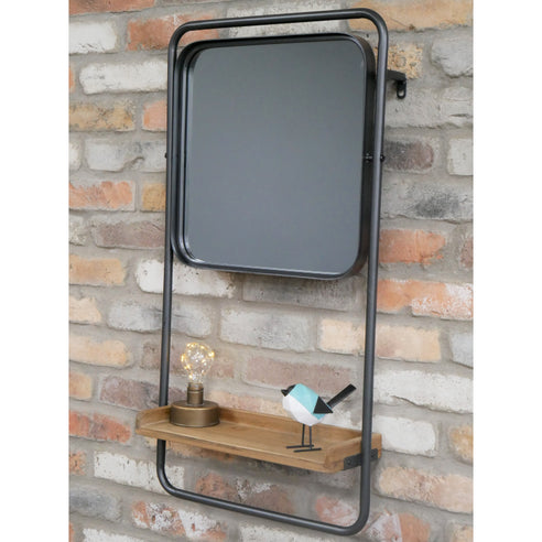 Retro Industrial Metal and Wood Ladder Style Mirror Shelf Unit (44 x 15 x 84cm)