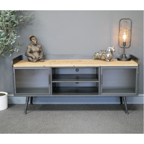 Hoxton Metal Industrial Retro Reeded Glass TV Unit (130 x 40 x 60cm)