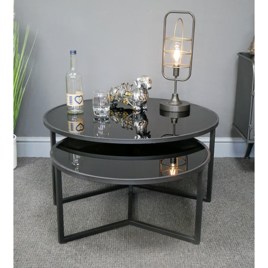 Hoxton Metal Industrial Retro Black Glass Coffee Table Set
