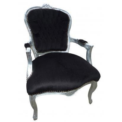 Black velvet silver frame french arm chair