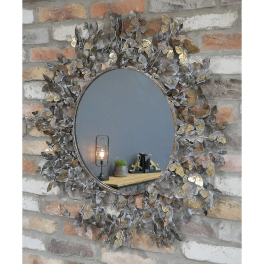 Antique Gold Butterfly Metal Wall Mirror (82 x 5 x 82cm) - DAMAGED CLEARANCE