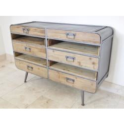 Retro Industrial 50's Style Metal/Wood Small Sideboard (120 x 38 x 81cm)