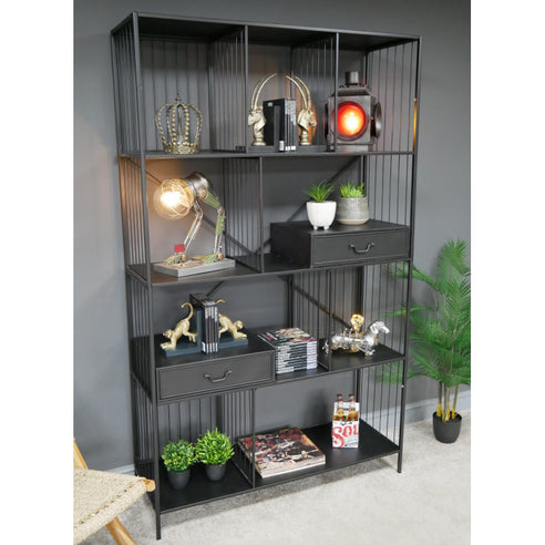 Hoxton Metal Industrial Retro Large Open Display Cabinet (120 x 41 x 200cm)