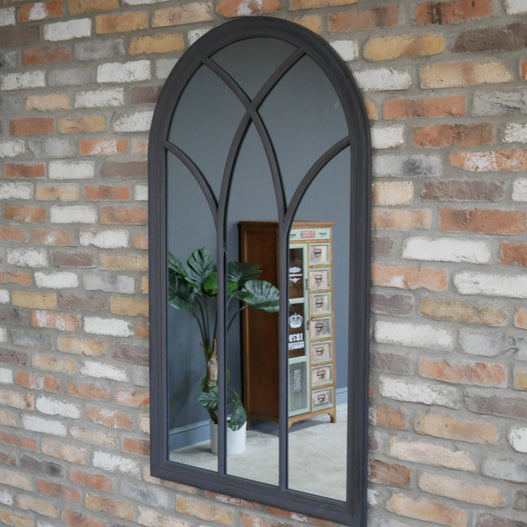 Grey Metal Arched Gothic Mirror (79 x 3 x 140)