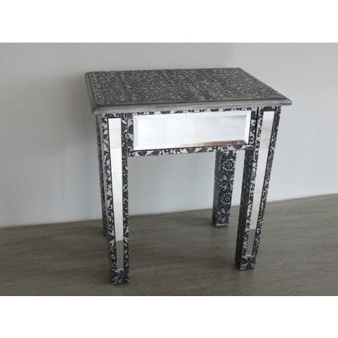 Blackened silver embossed mirrored metal stool