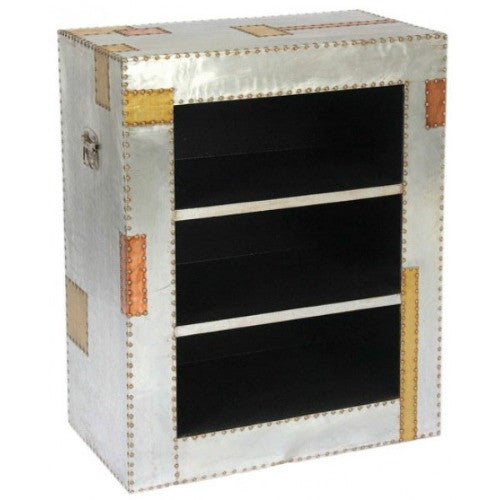 Silver and copper industrial aluminium bookcase