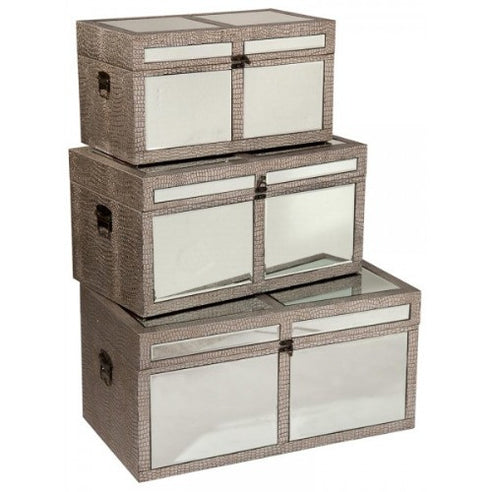 Mock croc mirrored storage chests trunks set of 3