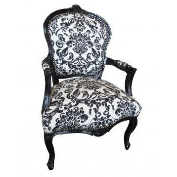 Black frame damask fabric french arm chair