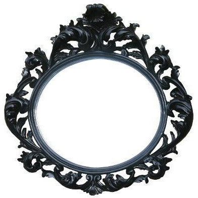 Large black french vintage rococo mirror