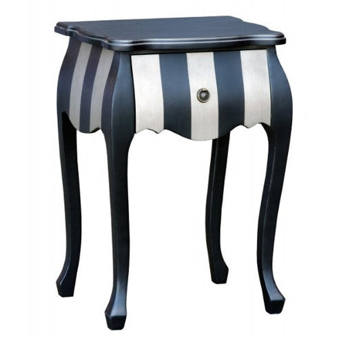 Silver and black french bombe bedside table - small