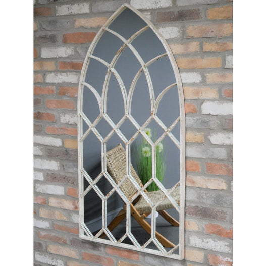 Beach House Distressed Metal Gothic Arched Mirror