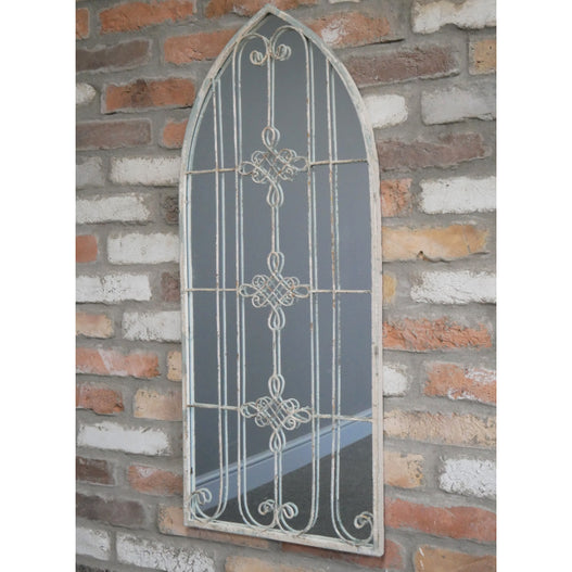 Beach House Distressed Metal Gothic Knot Arch Mirror