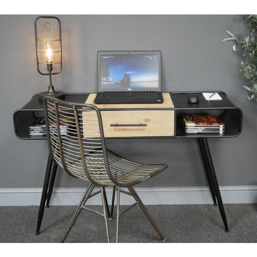 Retro Industrial 50's Style Metal and Wood Laptop Desk with Hoxton Chair Set