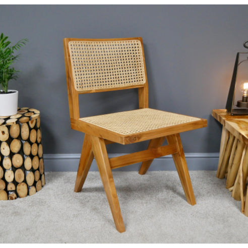 Hoxton Industrial Teak and Rattan Chair - Set of 2