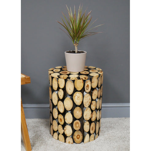 Hoxton Industrial Teak Cylinder Slice Log Side Table