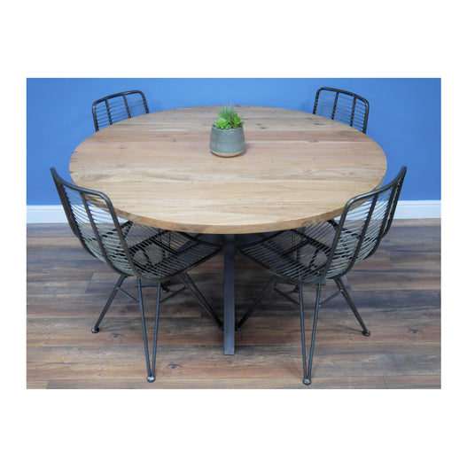 Hoxton Acacia Wood Round Dining Table with 4 Wirework Chairs(135cm diam )
