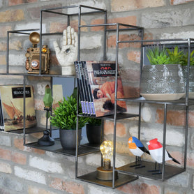 Brixton Metal Mirrored Wall Unit (98 x 16 x 68cm)