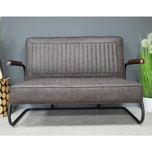 Hoxton Brown PU Leather Retro 2 Seat Sofa
